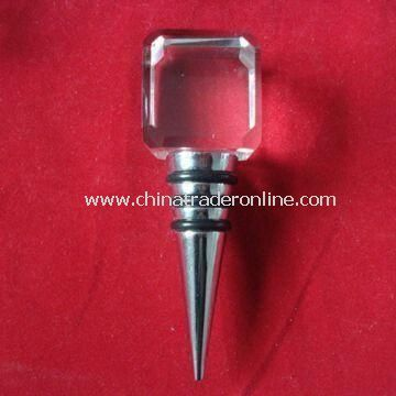 Wine Stopper Made of Glass and Metal Material