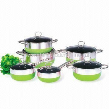 12-piece Cookware Set with Stainless Steel Handle, Made of Aluminum Alloy
