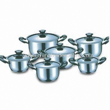 12-piece Stainless Steel Cookware Set, Copper Plating, 14 x 7cm Casserole with Lid