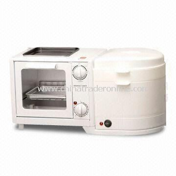 3-in-1 Breakfast Maker/Toaster with Steamer, Suitable for Making Different Western Pastries