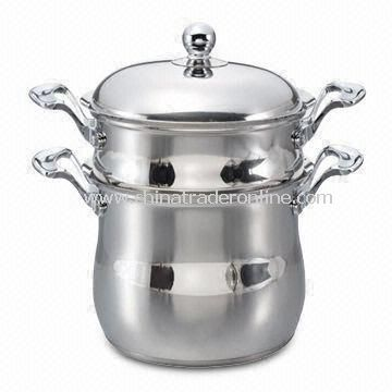 3-piece Belly Shape Couscous Pot, Made of Stainless Steel, 0.8mm Thickness, Multi-used