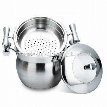 3pcs Apple-shaped Couscous Pot with 0.7mm Body Thickness, Made of 4/6/8/12L Stainless Steel