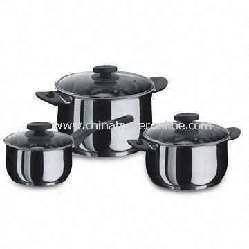 6-piece Cookware Set, Made of Stainless Steel with Mirror Finish Exterior and Interior