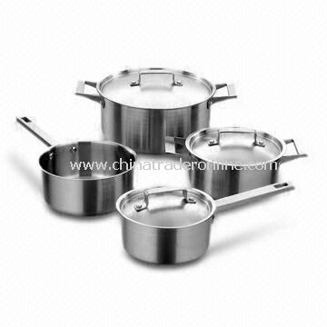 7-piece Stainless Steel Kitchenware Set, Two x Saucepan and Two x Casserole