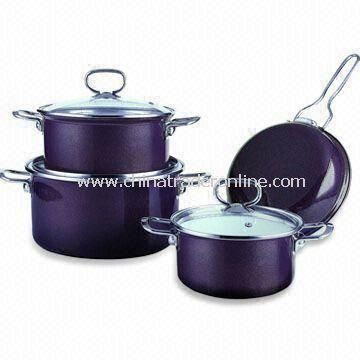 7 Pieces Cookware Set with Stainless Steel Handle and 1.2mm Body Thickness
