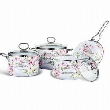 7-pieces Enamel Cookware Set with 1.2mm Body Thickness and Stainless Steel Handle from China