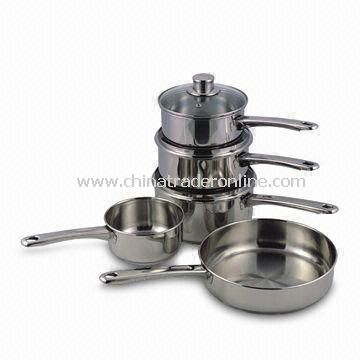 8-piece Stainless Steel Cookware Set, Straight Shape, Cut Edge, Mirror polishing Outside and Inside from China