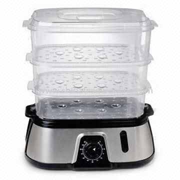 800W Food Steamer with Stainless Steel Housing and PP Rice Bowl