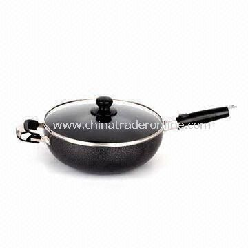 Aluminum-alloy Wok with Glass Lid and Lacquer Painting, Various Sizes are Available