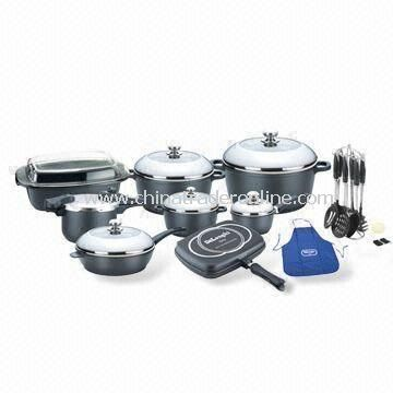 Aluminum Cookware Set with Stainless Steel Semi-glass Lid, Nylon Tools, Apron and Cotton Gloves