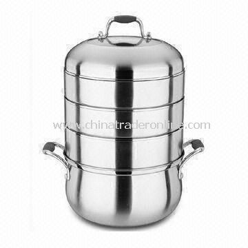 Combination Steamer Pot, Made of 201 Stainless Steel, with Silicone Handle and 0.5cm Body Thickness
