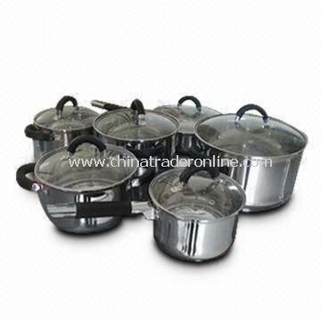 Cookware Set with Stainless Steel Pot with Black Handles, Available in Various Sizes from China