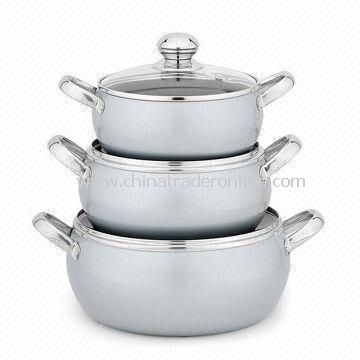 Curved Sauce Pot with Two-layer Nonstick Coating, with Stainless Steel Handle