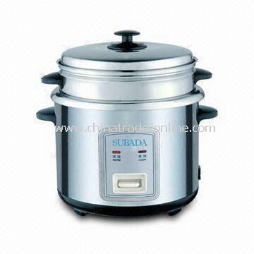 Cylinder Rice Cooker with Luxury Stainless Steel Steamer and 1.2 to 2.5L Capacity