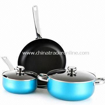 Five-piece Non-stick Cookware Set with Stainless Steel Handles and Knob