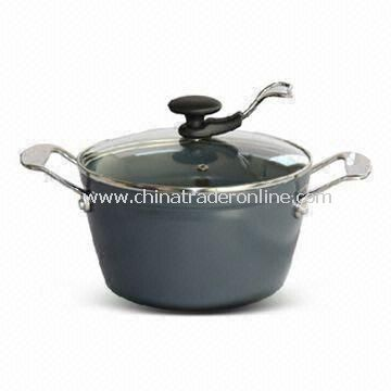 Forged Aluminum Casserole with 5mm Bottom Thickness, Customized Colors are Accepted