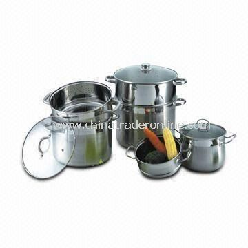Multifunction Steamer Stock Pot Cookware Set with 0.5 to 0.8cm Thickness, Made of Stainless Steel