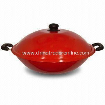 Non-stick Wok with Color Lacquer Painting, Made of Aluminum