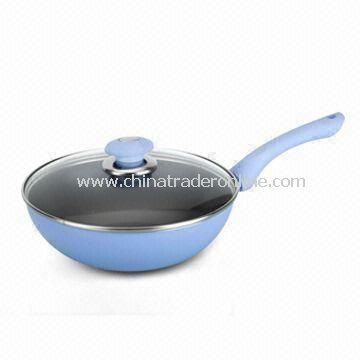 press aluminium wok; chinese wok; non-stick wok; stir pan; aluminium cookware from China