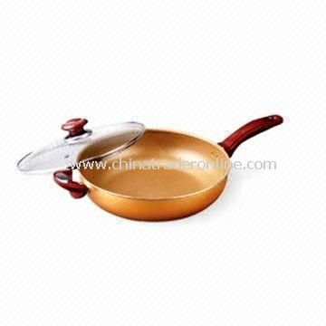 Saute Pan/Wok with Bakelite Handle, Measures 18 to 32cm, Made of Aluminium