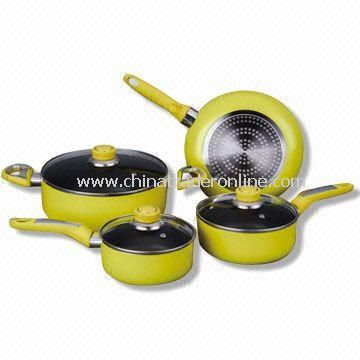 Seven-piece Non-stick Cookware Set with Stainless Steel Handle and Knob
