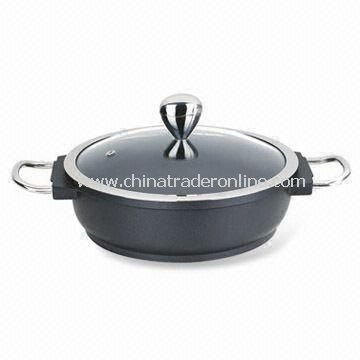 Shallow Casserole, Made of Die-cast Aluminum, with Original Clay Lid, Convenient and Easy to Clean