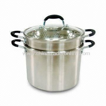 Stainless Steel Pasta Pot and Steamer, Glass Lid and Roll Edge