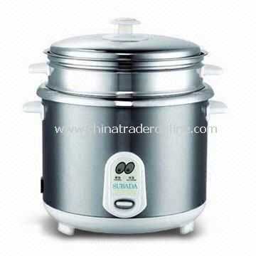 Straight Rice Cooker with Stainless Steel Body and Steamer, 1 to 2.8L Capacity and Nice-outlook