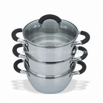 Three Pieces Food Steamers with Tempered Glass Lid, Measures 18 and 20cm, Silicone Handles and Knob