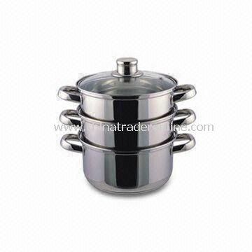 Three Pieces Food Steamers with Tempered Glass Lid, Measures 18cm