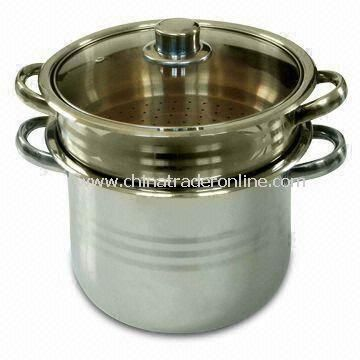 Three Pieces Stainless Steel Food Steamer Set with Wide Edge and Brown Glass Lid