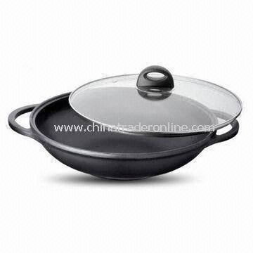 Wok with 10.5cm Height and Glass Lid, Made of Aluminum