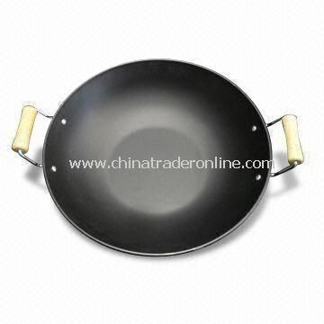Wok with 2 Wood Handles, 30cm Diameter and 7.5cm Height, No Lid
