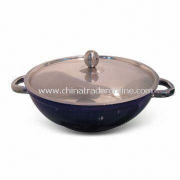 Wok with 5mm Thickness, Two Handles and Stainless Steel Lid