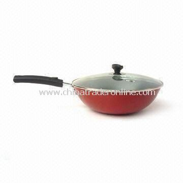 Wok with Lid, Double Coating (Non-stick) and 30cm Diameter, Made of Iron