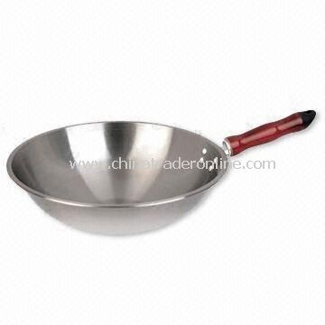 Wok with Red Handle, Measures 30cm, Made of Cold-rolled Plate