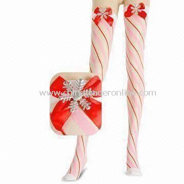 Chic Knee-high Stockings, Made of Polyester and Nylon, Comes in Christmas Design from China