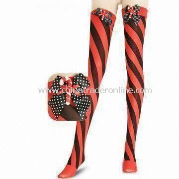 Christmas-designed Knee-high Stocking, Made of Polyester and Nylon