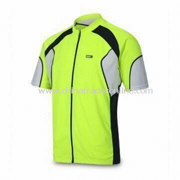Comfortable Cycling Jersey, OEM Orders are Welcome, Made of 100% Polyester Material