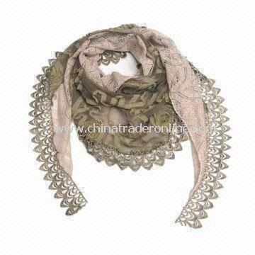 Cotton Scarf and Shawl with Inosculated Two Patterns, Various Colors are Available, Fashionable