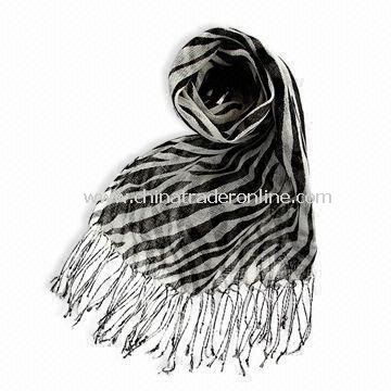 Fashionable Ladies Scarf/Shawl, Made of Cotton and Silk, OEM Orders are Welcome
