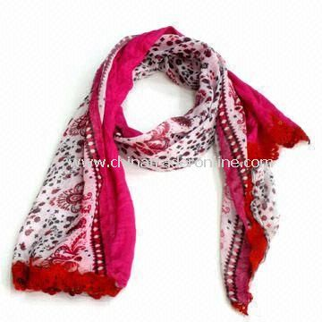 Fashionable Scarf/Shawl for Ladies, Made of Polyester, OEM and ODM Orders are Welcome