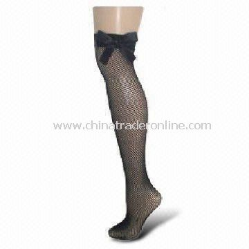 Fishnet Over-knee Stockings with Black Satin Bow, Can be Made of 100% Nylon