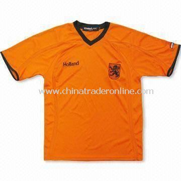 Holland Jersey with Black V-neck and Cuff, Made of 100% Polyester
