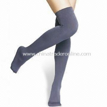 Ladies Stocking Socks with Fleece Inside, Made of 5% Polyester and 5% Spandex