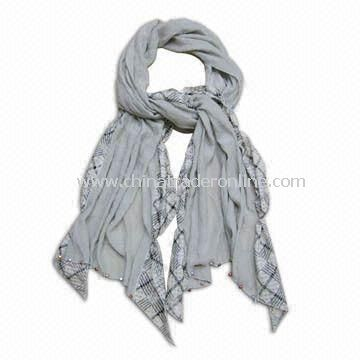 Latest Design of Scarves, Shawl, Two Patterns Well Inosculated, Plated Acrylic Beads Decorated