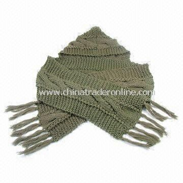 Olive Green Scarf, Made of Wool, in Various Designs and Colors; Also Available in Shawl