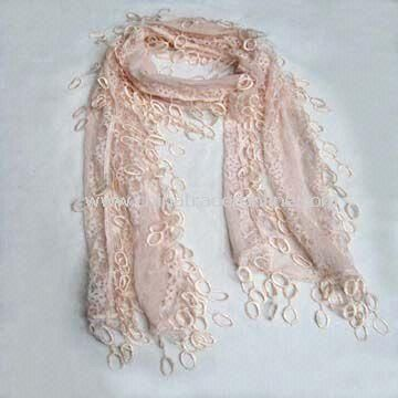 Scarf/Shawl, Made of Cotton, Small Circles Around Fringe, Available in Various Colors