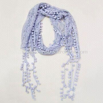 Scarves & Shawl, Perforated Pattern with Exquisite Balls in Matched Color Decorated on the Fringe