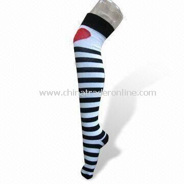 Womens Knee High Socks, Made of Combed Cotton, Nylon and Spandex, with Embroidered Design from China